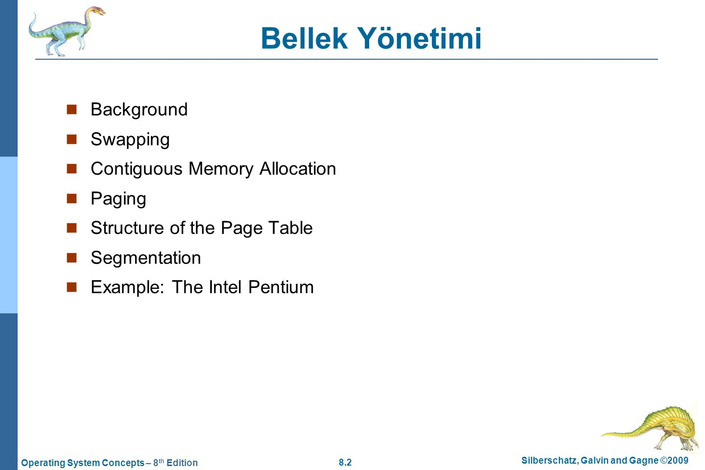 Bellek Yönetimi Background Swapping Contiguous Memory Allocation