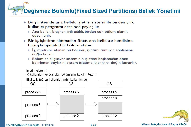 Değismez Bölümlü(Fixed Sized Partitions) Bellek Yönetimi