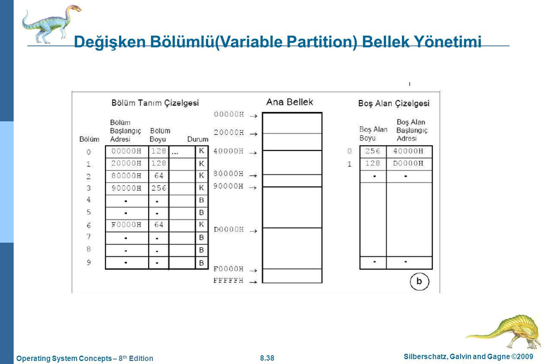 Değişken Bölümlü(Variable Partition) Bellek Yönetimi