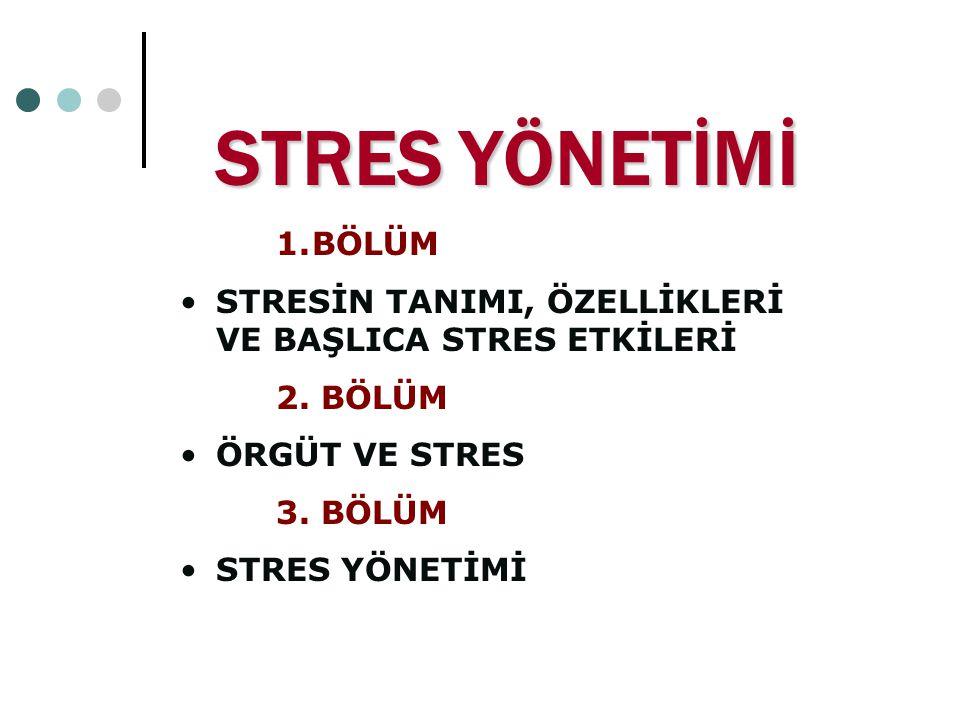 STRES YÖNETİMİ BÖLÜM. STRESİN TANIMI, ÖZELLİKLERİ VE BAŞLICA STRES ETKİLERİ. 2. BÖLÜM. ÖRGÜT VE STRES.