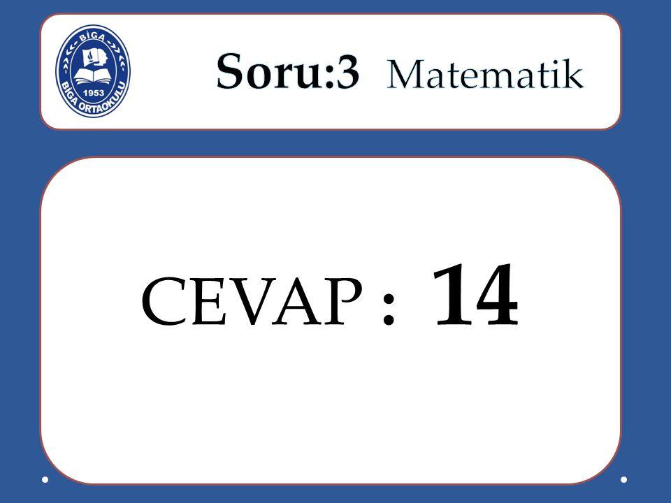 Soru:3 Matematik CEVAP : 14