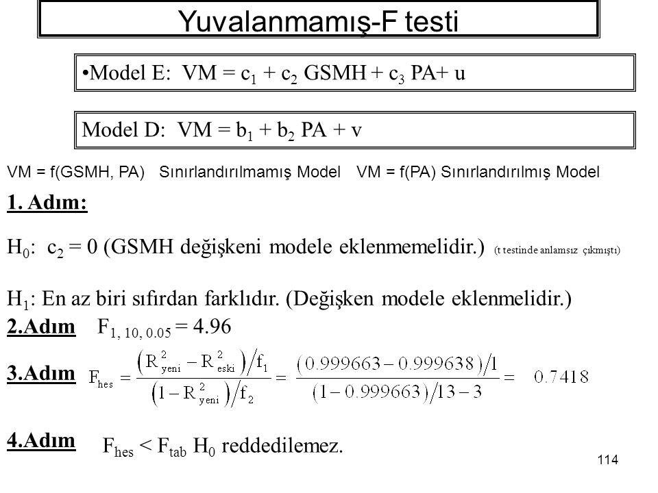 Yuvalanmamış-F testi Model E: VM = c1 + c2 GSMH + c3 PA+ u
