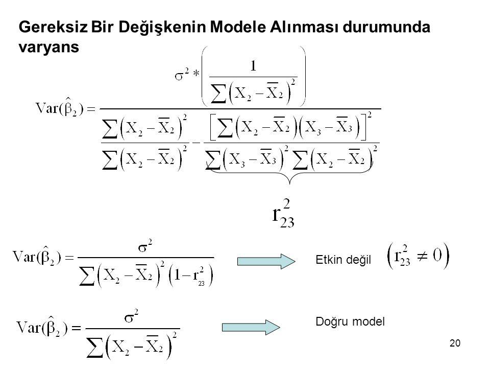 Gereksiz Bir Değişkenin Modele Alınması durumunda varyans