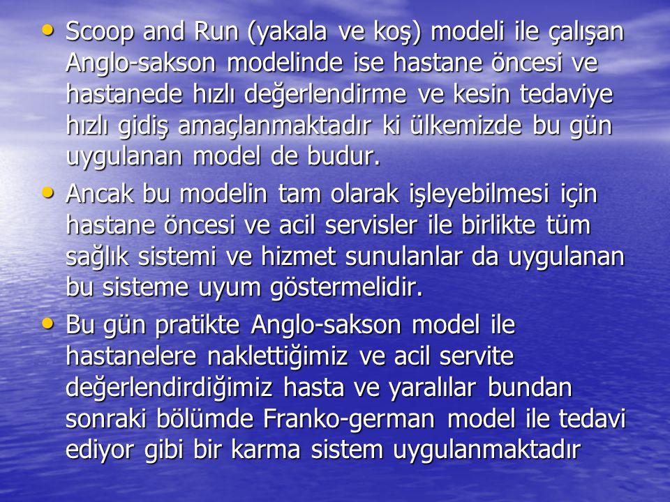 Scoop and Run (yakala ve koş) modeli ile çalışan Anglo-sakson modelinde ise hastane öncesi ve hastanede hızlı değerlendirme ve kesin tedaviye hızlı gidiş amaçlanmaktadır ki ülkemizde bu gün uygulanan model de budur.