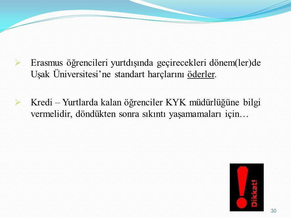 Erasmus öğrencileri yurtdışında geçirecekleri dönem(ler)de Uşak Üniversitesi'ne standart harçlarını öderler.