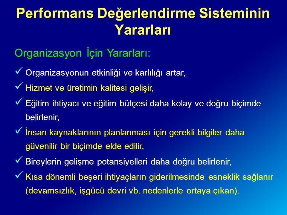 Performans Değerlendirme Sisteminin Yararları