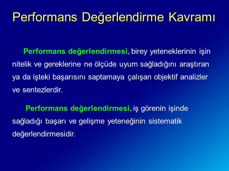 Performans Değerlendirme Kavramı