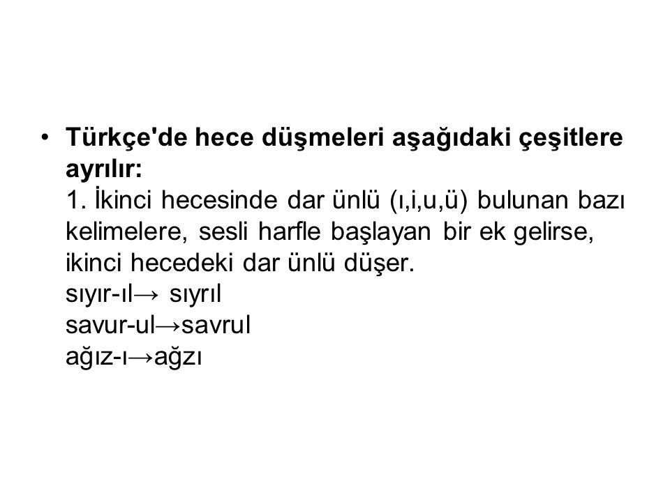 Türkçe de hece düşmeleri aşağıdaki çeşitlere ayrılır: 1