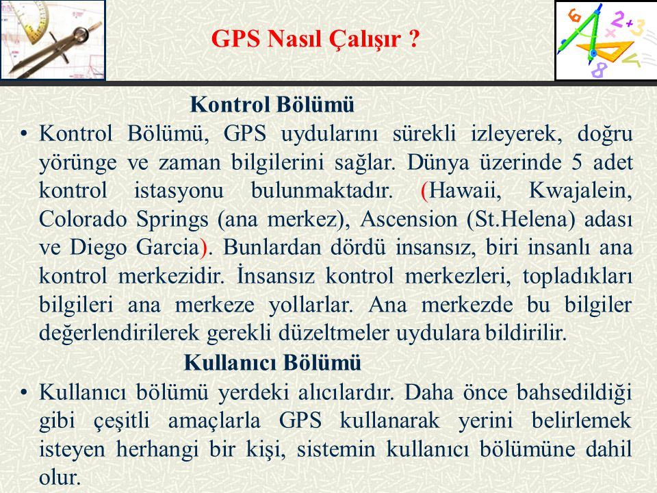 GPS Nasıl Çalışır Kullanıcı Bölümü