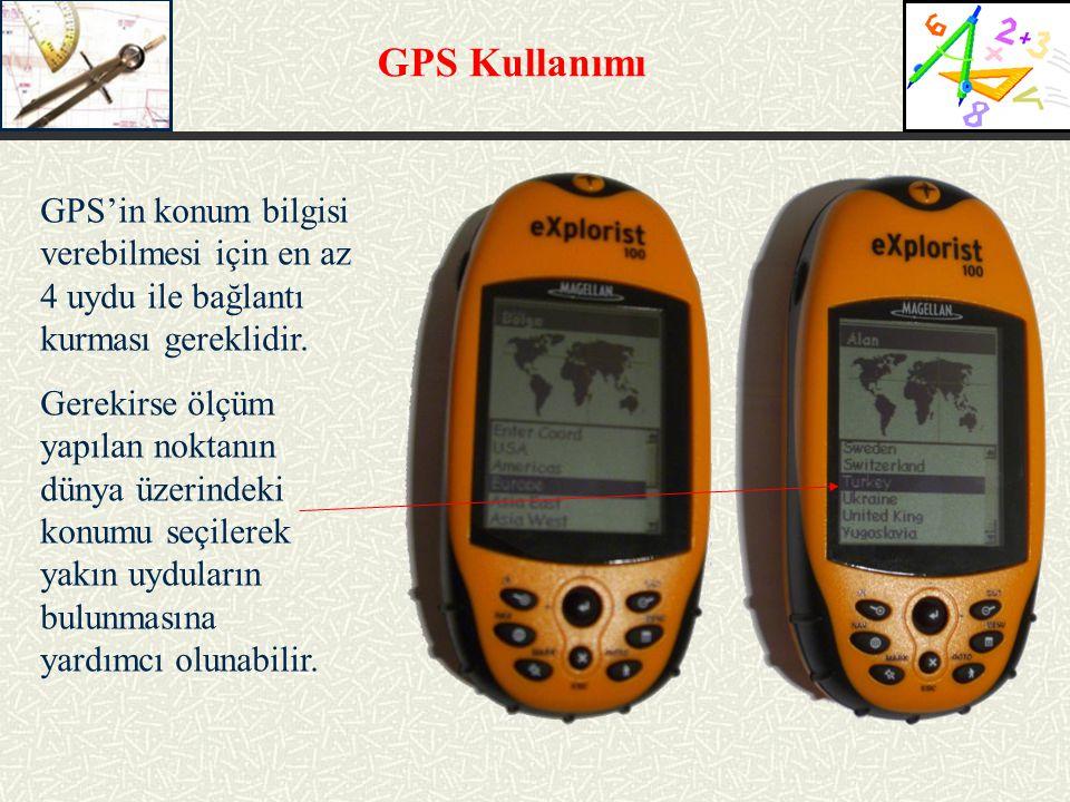 GPS Kullanımı GPS'in konum bilgisi verebilmesi için en az 4 uydu ile bağlantı kurması gereklidir.
