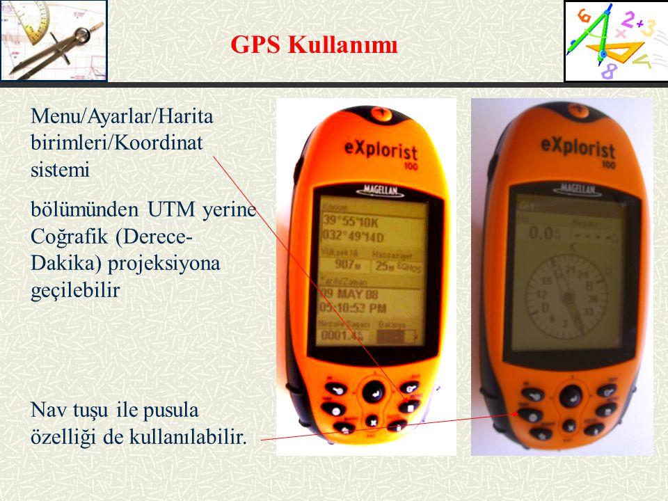 GPS Kullanımı Menu/Ayarlar/Harita birimleri/Koordinat sistemi
