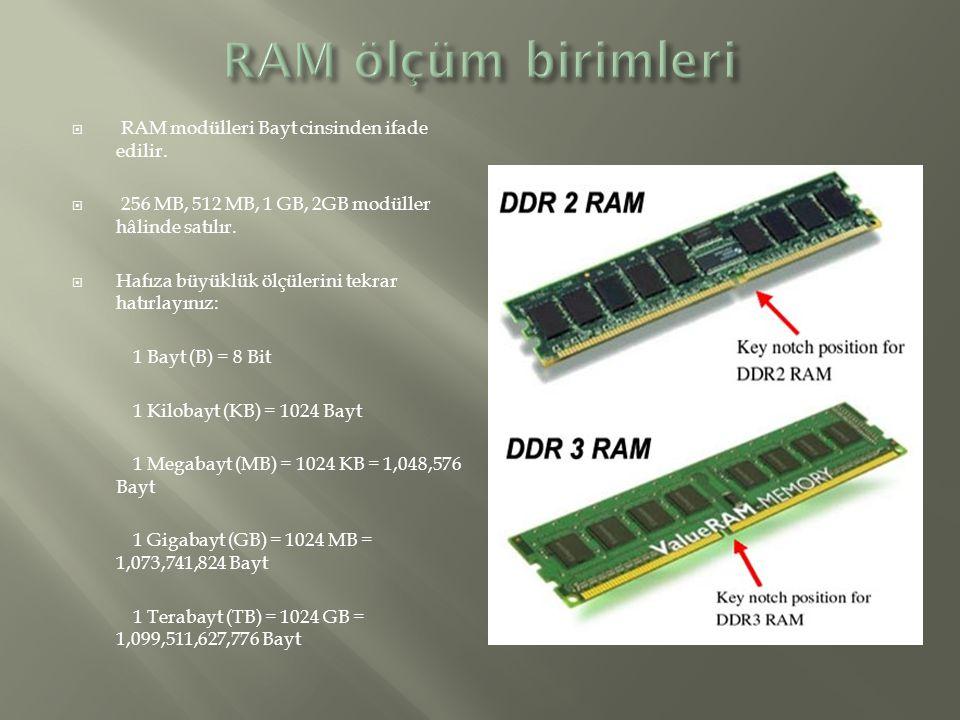RAM ölçüm birimleri RAM modülleri Bayt cinsinden ifade edilir.