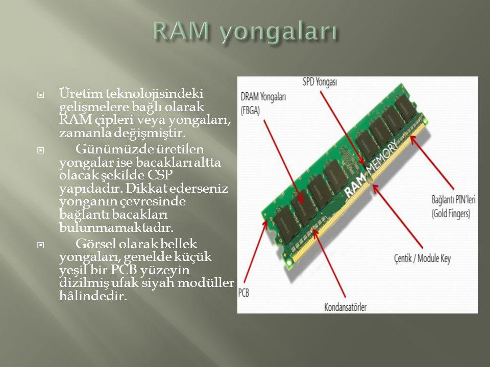 RAM yongaları Üretim teknolojisindeki gelişmelere bağlı olarak RAM çipleri veya yongaları, zamanla değişmiştir.