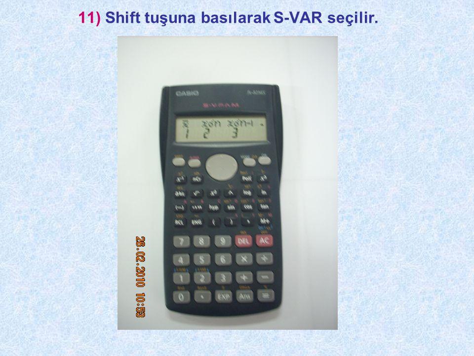 11) Shift tuşuna basılarak S-VAR seçilir.