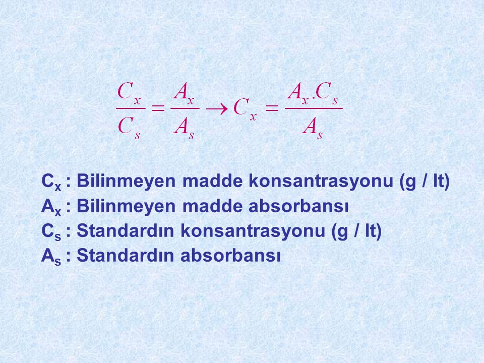 Cx : Bilinmeyen madde konsantrasyonu (g / lt)