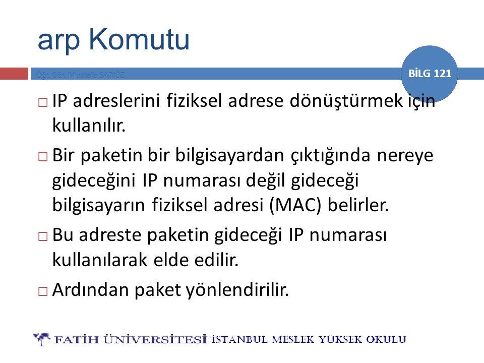 arp Komutu IP adreslerini fiziksel adrese dönüştürmek için kullanılır.