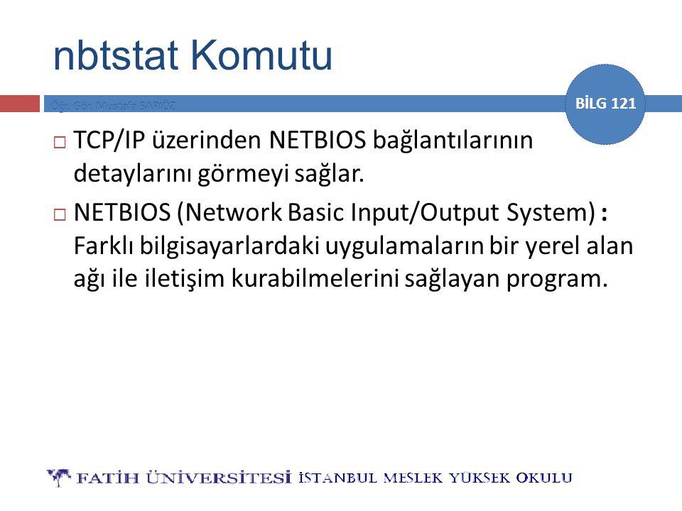 nbtstat Komutu TCP/IP üzerinden NETBIOS bağlantılarının detaylarını görmeyi sağlar.