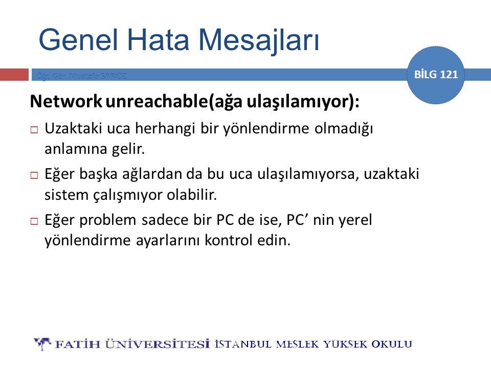 Genel Hata Mesajları Network unreachable(ağa ulaşılamıyor):