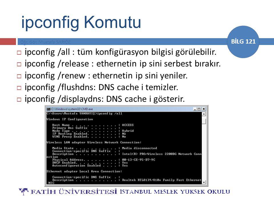 ipconfig Komutu ipconfig /all : tüm konfigürasyon bilgisi görülebilir.
