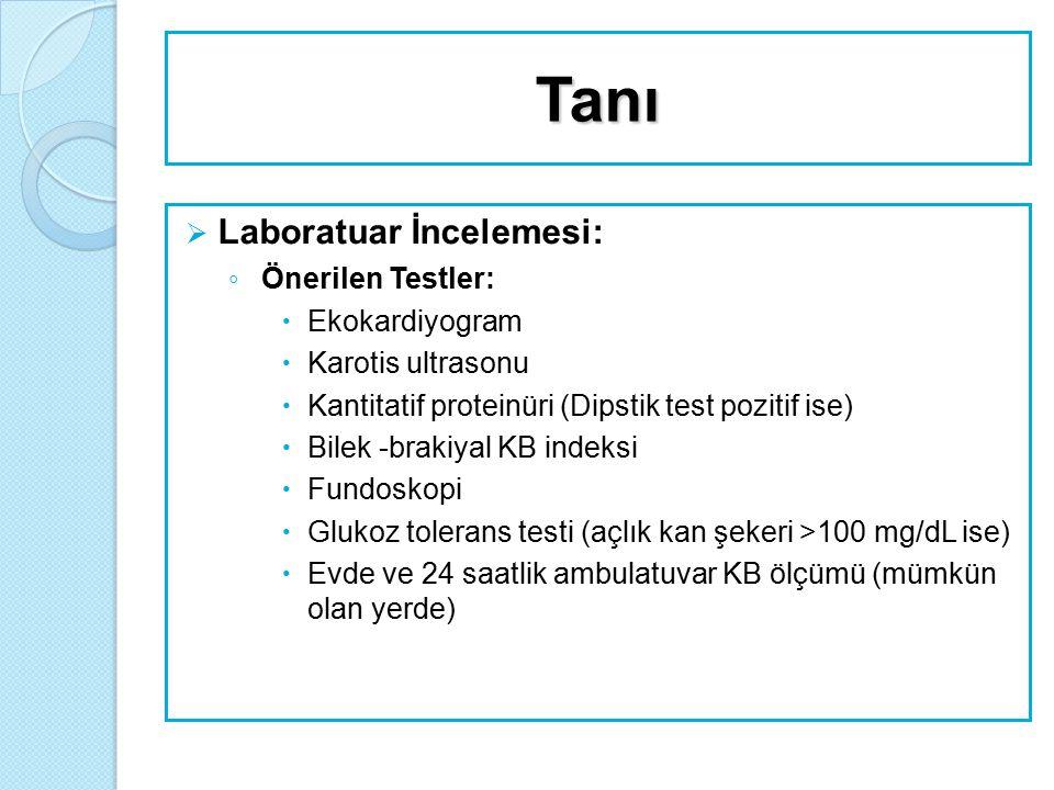 Tanı Laboratuar İncelemesi: Önerilen Testler: Ekokardiyogram