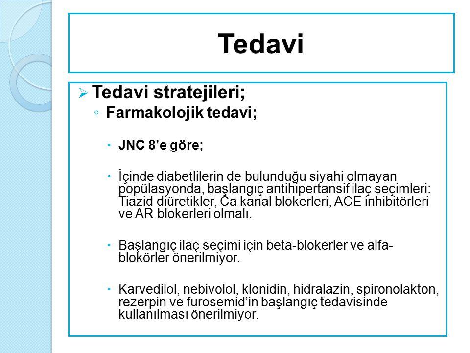 Tedavi Tedavi stratejileri; Farmakolojik tedavi; JNC 8'e göre;