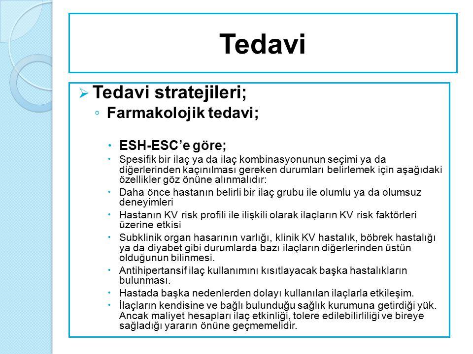 Tedavi Tedavi stratejileri; Farmakolojik tedavi; ESH-ESC'e göre;