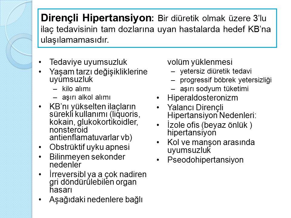 Dirençli Hipertansiyon: Bir diüretik olmak üzere 3'lu ilaç tedavisinin tam dozlarına uyan hastalarda hedef KB'na ulaşılamamasıdır.