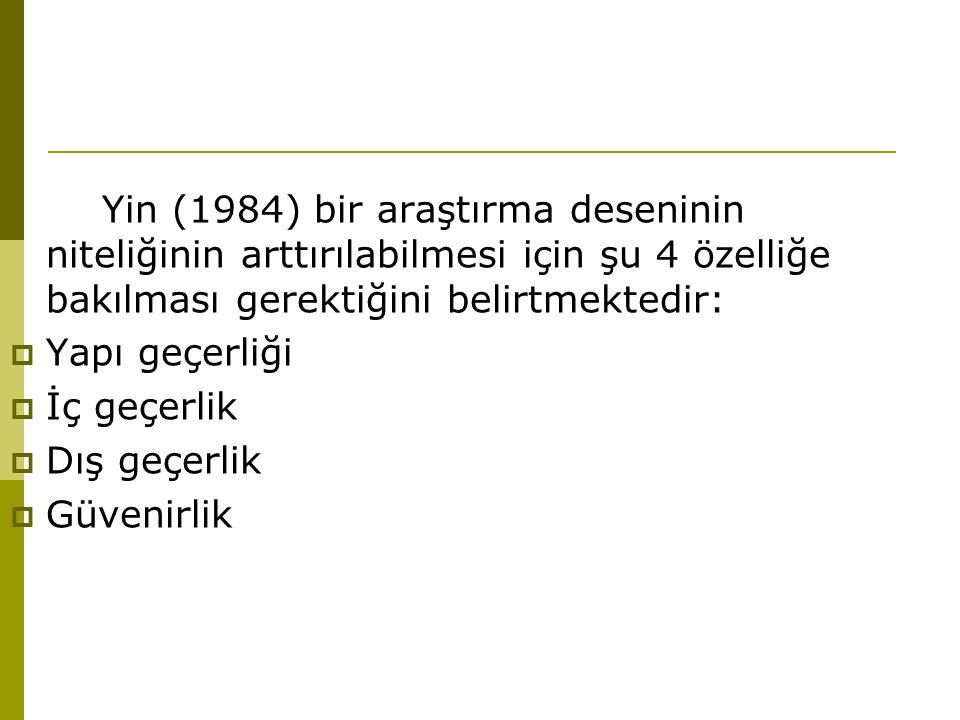Yin (1984) bir araştırma deseninin niteliğinin arttırılabilmesi için şu 4 özelliğe bakılması gerektiğini belirtmektedir: