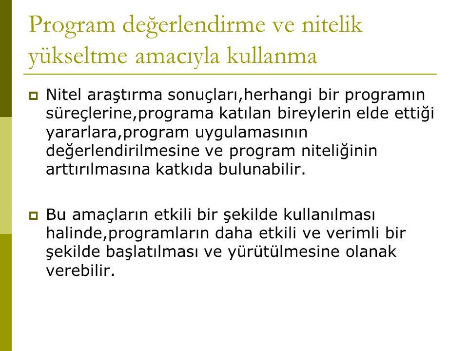 Program değerlendirme ve nitelik yükseltme amacıyla kullanma