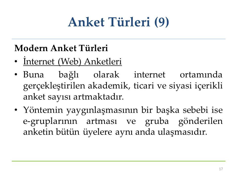 Anket Türleri (9) Modern Anket Türleri İnternet (Web) Anketleri