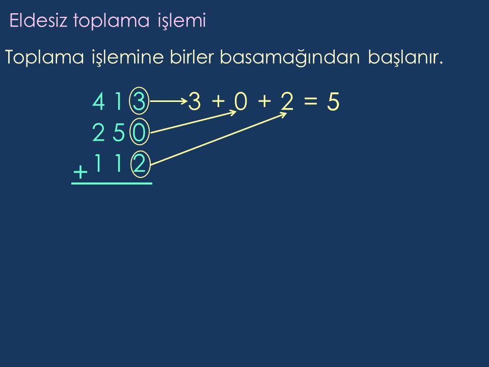 + 4 1 3 3 + + 2 = 5 5 2 5 0 1 1 2 Eldesiz toplama işlemi