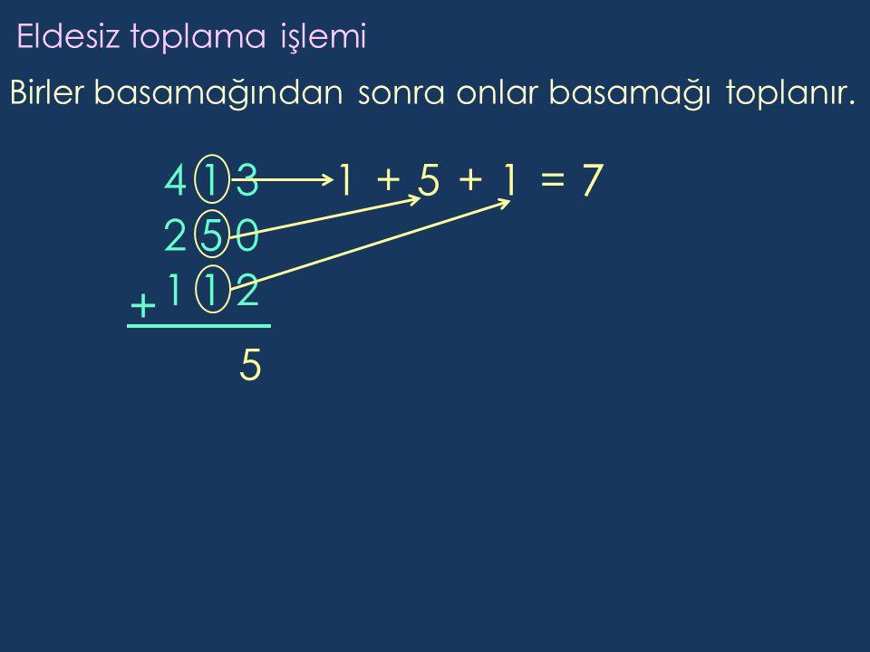 + 4 1 3 1 + 5 + 1 = 7 7 2 5 0 1 1 2 5 Eldesiz toplama işlemi