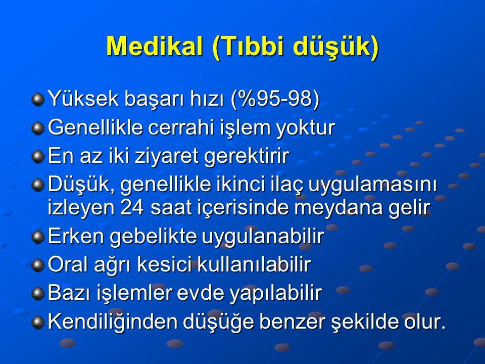 Medikal (Tıbbi düşük) Yüksek başarı hızı (%95-98)