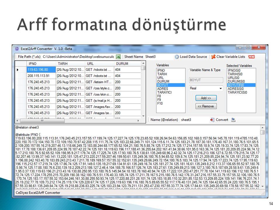 Arff formatına dönüştürme