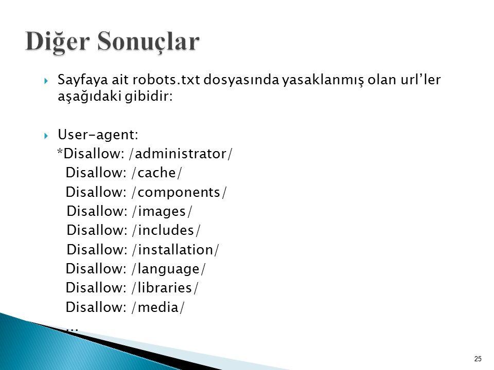 Diğer Sonuçlar Sayfaya ait robots.txt dosyasında yasaklanmış olan url'ler aşağıdaki gibidir: User-agent:
