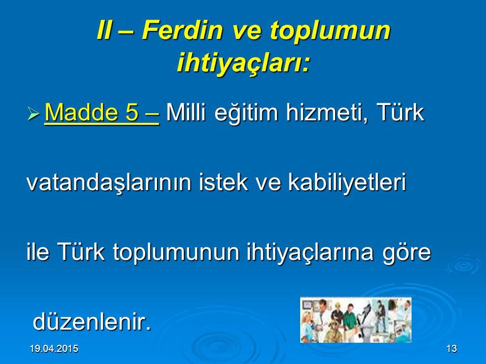 II – Ferdin ve toplumun ihtiyaçları: