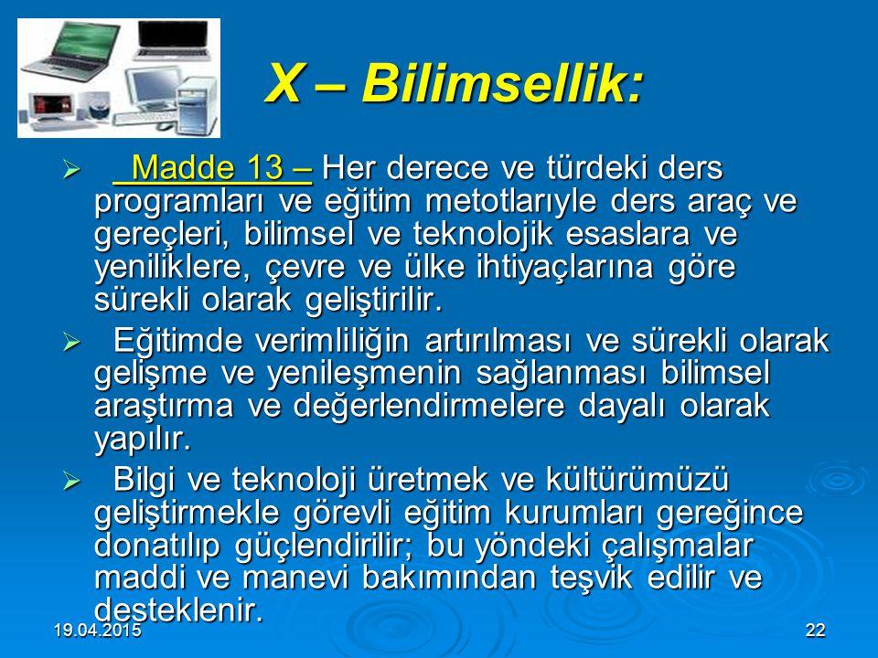 X – Bilimsellik: