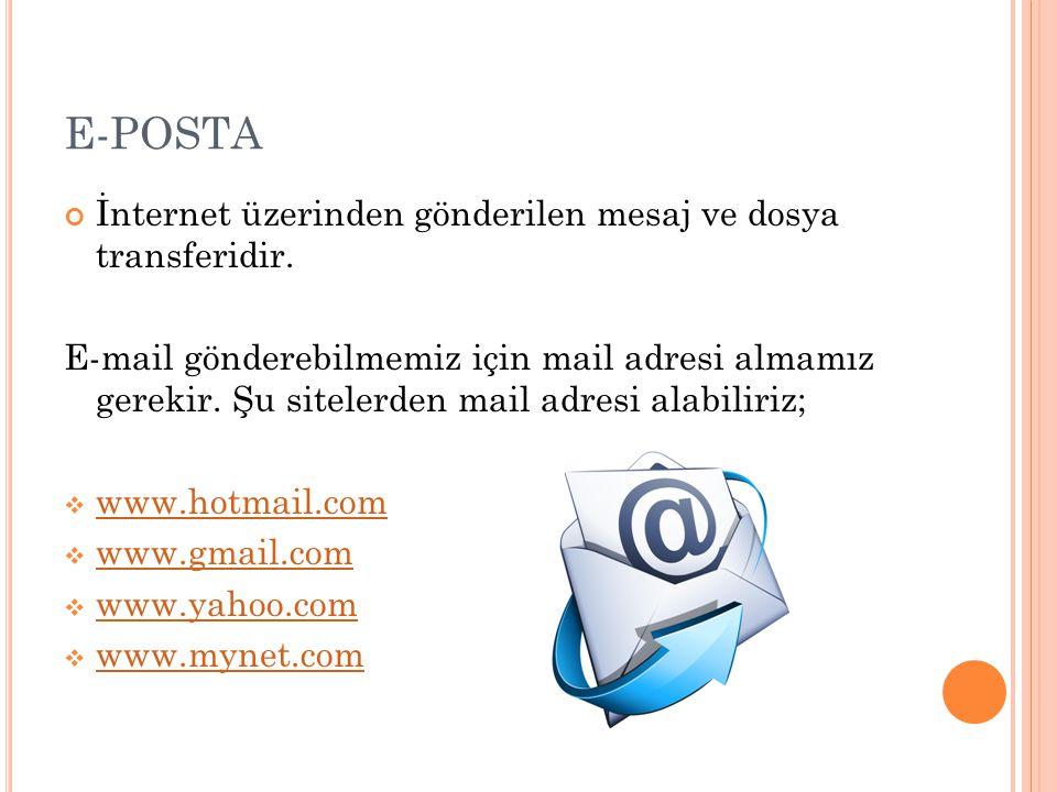 E-POSTA İnternet üzerinden gönderilen mesaj ve dosya transferidir.