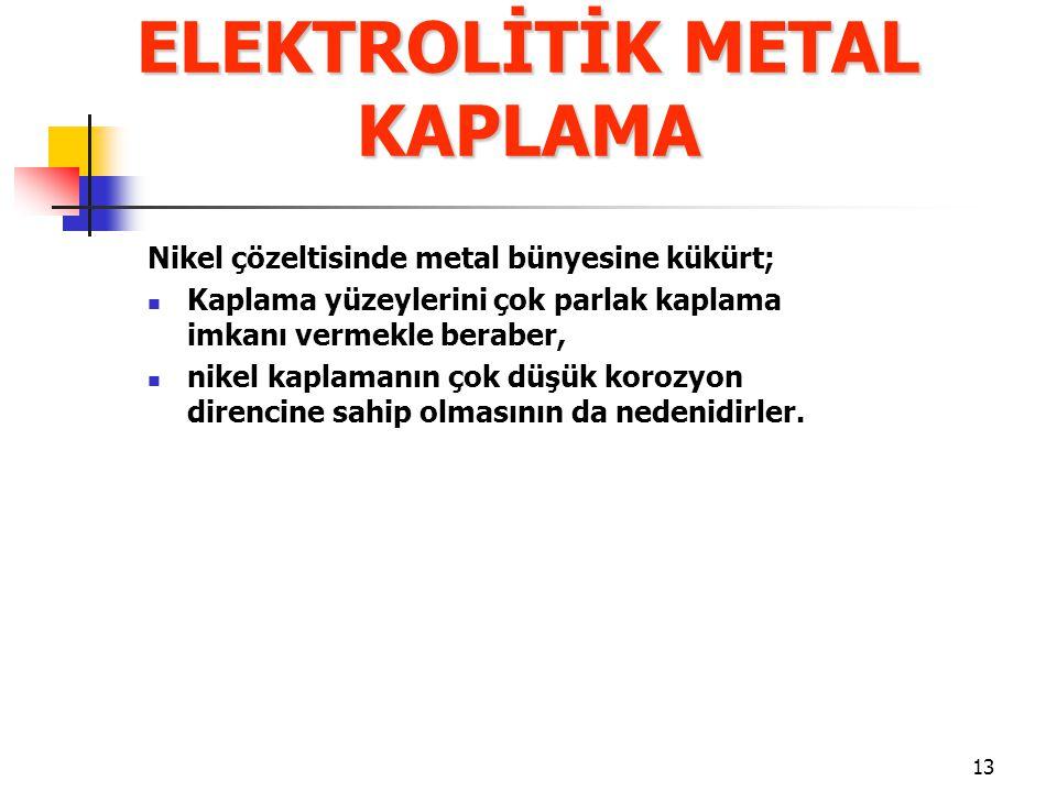 ELEKTROLİTİK METAL KAPLAMA
