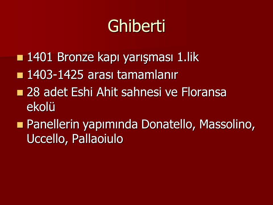 Ghiberti 1401 Bronze kapı yarışması 1.lik 1403-1425 arası tamamlanır