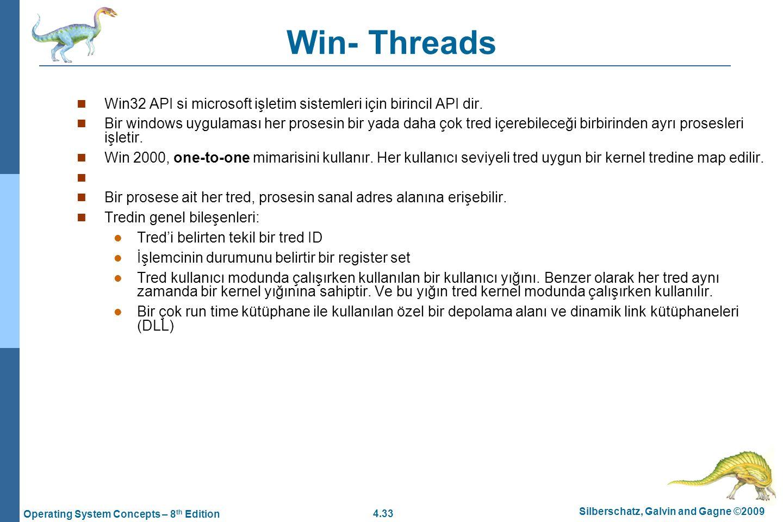 Win- Threads Win32 API si microsoft işletim sistemleri için birincil API dir.