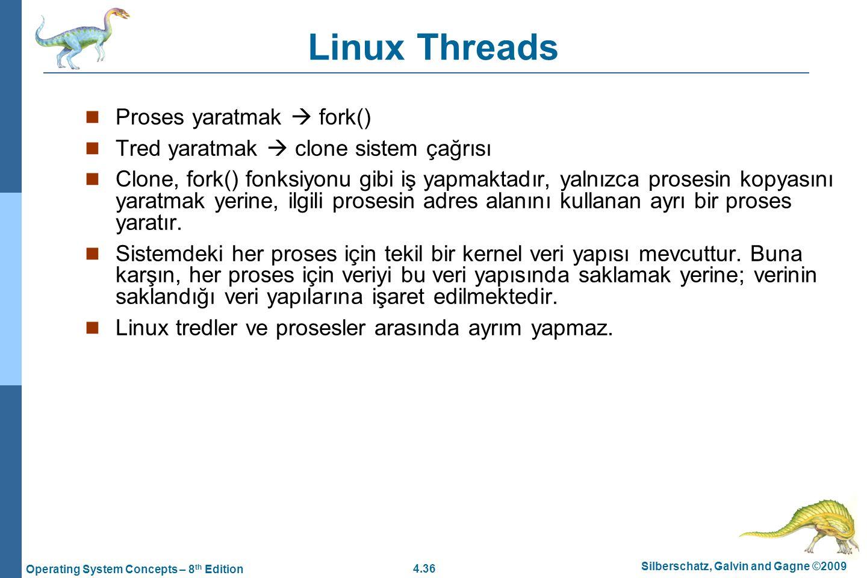 Linux Threads Proses yaratmak  fork()