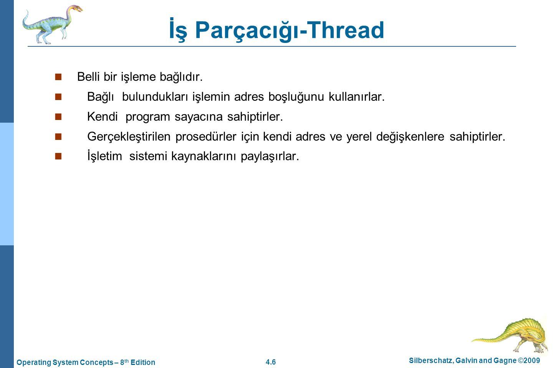 İş Parçacığı-Thread Belli bir işleme bağlıdır.