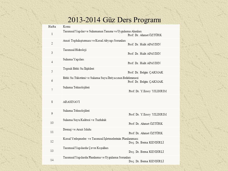 2013-2014 Güz Ders Programı Hafta Konu 1