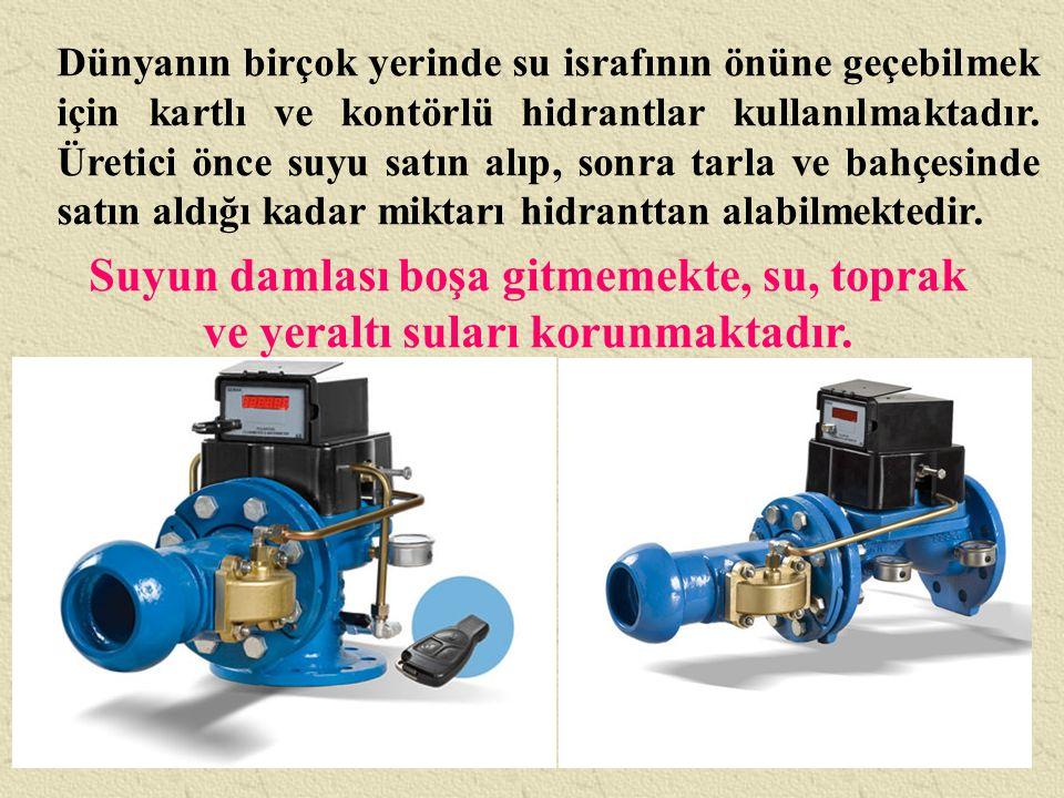 Dünyanın birçok yerinde su israfının önüne geçebilmek için kartlı ve kontörlü hidrantlar kullanılmaktadır. Üretici önce suyu satın alıp, sonra tarla ve bahçesinde satın aldığı kadar miktarı hidranttan alabilmektedir.