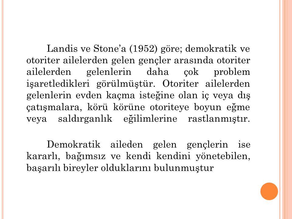 Landis ve Stone'a (1952) göre; demokratik ve otoriter ailelerden gelen gençler arasında otoriter ailelerden gelenlerin daha çok problem işaretledikleri görülmüştür.