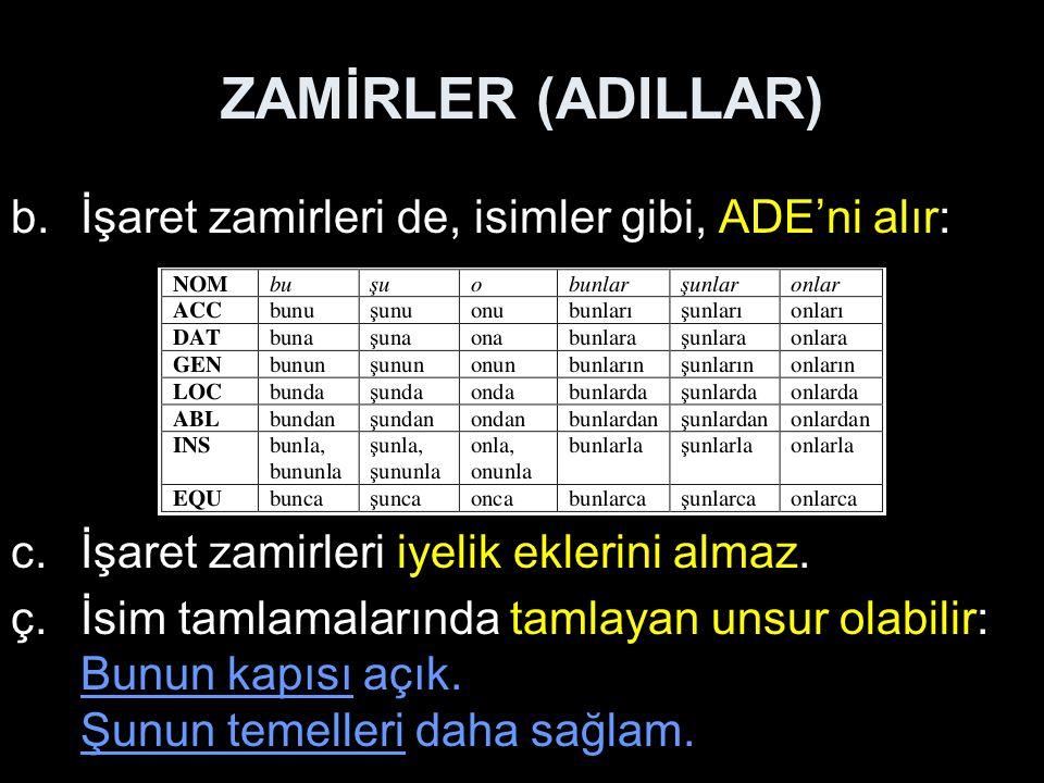 ZAMİRLER (ADILLAR) İşaret zamirleri de, isimler gibi, ADE'ni alır: