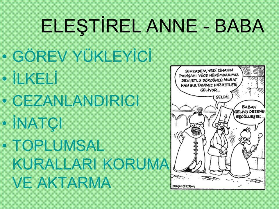 ELEŞTİREL ANNE - BABA GÖREV YÜKLEYİCİ İLKELİ CEZANLANDIRICI İNATÇI