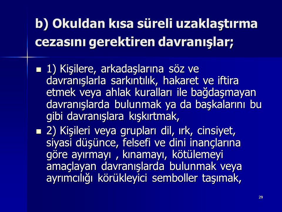 b) Okuldan kısa süreli uzaklaştırma cezasını gerektiren davranışlar;