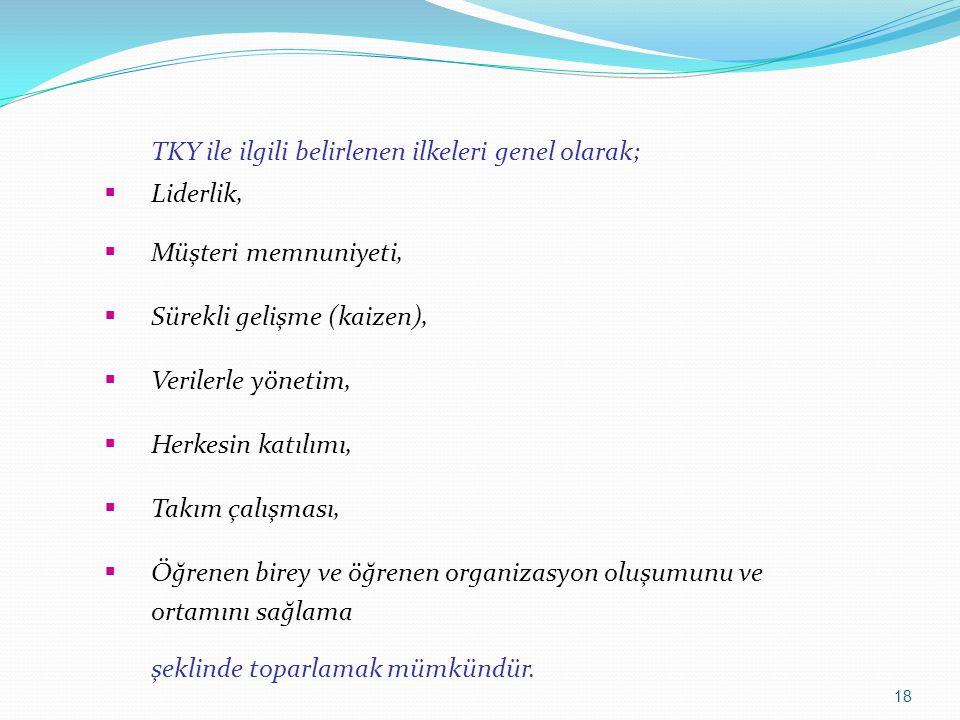 TKY ile ilgili belirlenen ilkeleri genel olarak;